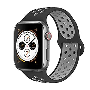EWORLD Compatible for Apple Watch Bands 42mm 44mm,Soft Silicone Replacement Wristband &, Sport design Compatible for iWatch Apple Watch Series 1/2/3/4 - New black/gray