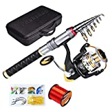 C0mdaba Fishing Rod and Reel Combos Full Kit Telescopic Fishing Pole with Spinning Reels Fishing Carrier Bag for Travel Saltwater Freshwater Fishing Gear Set 2.1M Rod + VD250 + Bag