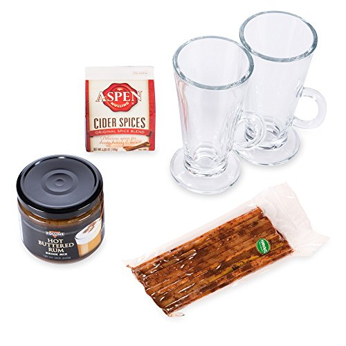 Winter Warmer Hot Beverage Sampler Pack - Hot Buttered Rum - Mulled Cider - Glasses by KegWorks