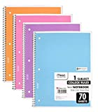 Mead Spiral Notebook 1-Subject College Ruled, Pastel Color COLOR WILL VARY, 4 Pack