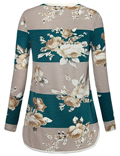 Women's Long Sleeve Floral Printed Shirts V Neck Casual Striped Blouse Tops