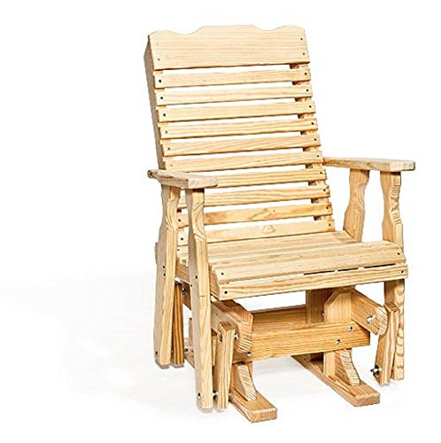 Pine Wood Curve Back Patio Glider Chair (Natural)