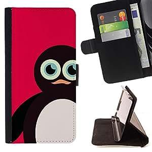 """Bright-Giant (Pingüino rosa Dibujo de animales Cute Kids"""") Modelo Colorido Cuero Carpeta Tirón Caso Cubierta Piel Holster Funda Protección Para Apple iPhone 5C"""
