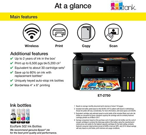 Epson Expression ET-2750 EcoTank Impresora inalámbrica a Color ...