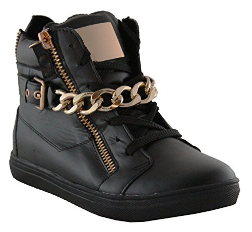 Kukubird Ladie's Womens Winter Autumn Wear Boots High High-Tops Shoes With Buckle & 3 Zips as Display Black