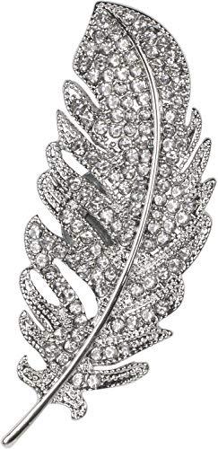 styleBREAKER Damen Magnet Schmuck Brosche Feder mit Strass, für Schals, Tücher oder Ponchos 05050068