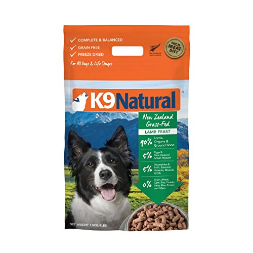 K9 Natural Freeze Dried Dog Food Or Topper By Perfect Grain Free, Healthy, Hypoallergenic Limited Ingredients Booster For All Dog Types - Raw, Freeze Dried Mixer - Lamb 4lb Pack