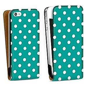 Diseño para Apple iPhone 4 / 4S DesignTasche Downflip white - Polka Dots - türkis und weiß