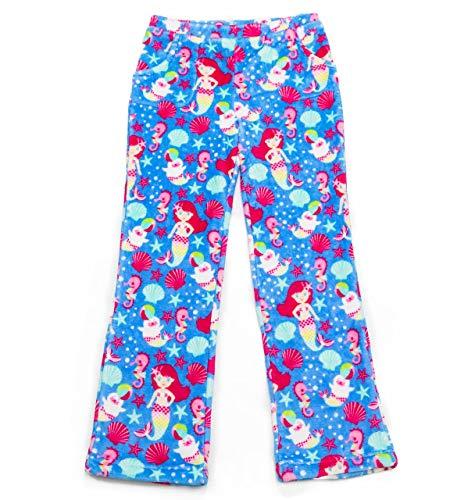 Candy Pink Girls Plush Premium Fuzzy Fleece Pants (7/8, Mermaids)