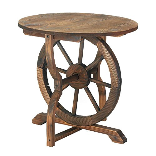 Patio End Table, Round Wagon Wheel Outdoor Side Decor Rustic Accent Table