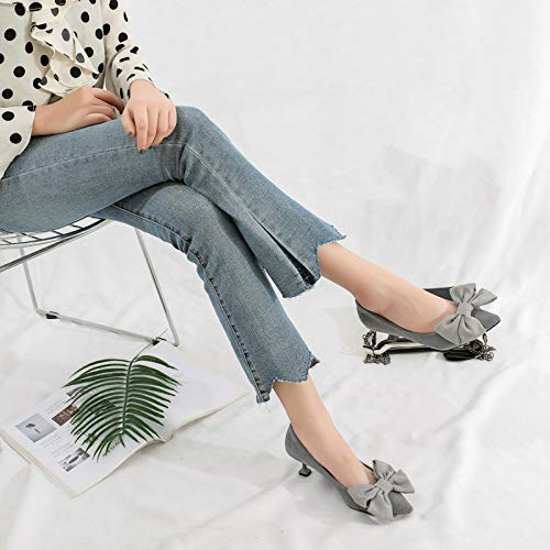High Heels Girl And Small Female Female Shoes Autumn Size Stiletto Grey Shoes High Cat heels 5Cm Single 313233 Wild Yukun zxP7wqF