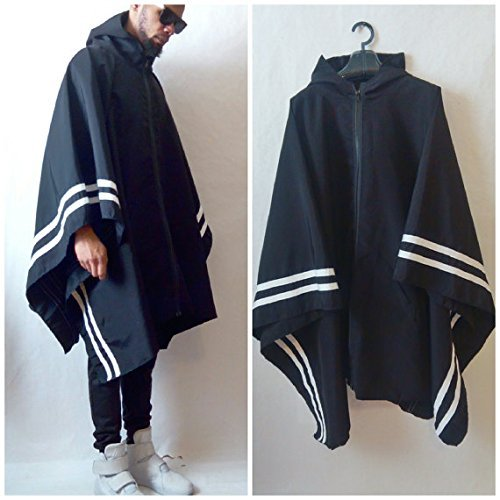 Poncho Resisent Activewear Poncho With Border Stripes inspired by Y3 by Culture And Fate