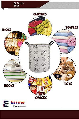 ESSME Storage Bins,Laundry Basket,Collapsible Large Size Storage Basket with Waterproof PE Coating,Canvas Fabric Nursery Hamper for Toy Storage,Gift,Baby Clothing.(Windmill Cow)