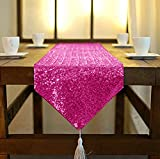 Shinybeauty Sequin Tassel Table Runner 12 by 132 Inch Fuchsia Shimmer Dining Table Runners Sequined Hotel Bed Coffee Table Runners