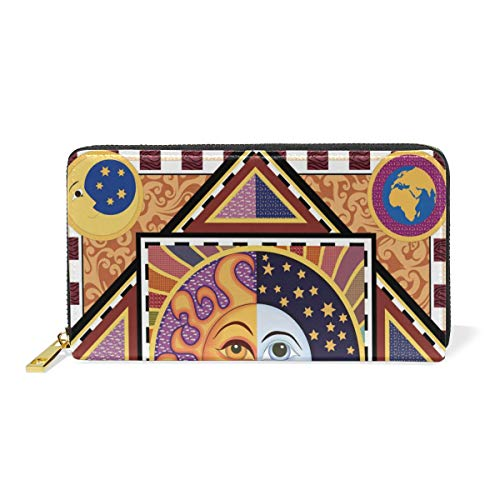 TIZORAX And Womens Around Clutch Zip Handbags Organizer Wallet Purses Ethnic And Sun Moon arqBOwSa