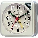 Acctim Bentima Ingot Quartz Travel Alarm Clock Light & Snooze - 1258 (White) by Acctim