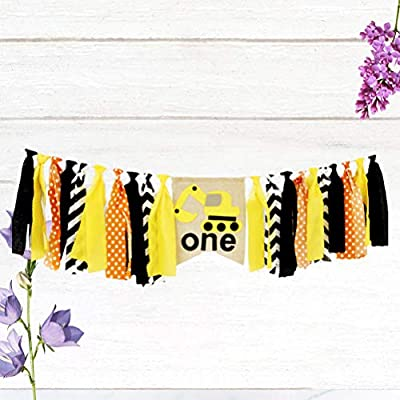 Amosfun Construction Themed 1st Birthday Highchair Banner Bunting Garland Pull Flag For Baby Shower Kids Boy Birthday Party Supplies: Toys & Games