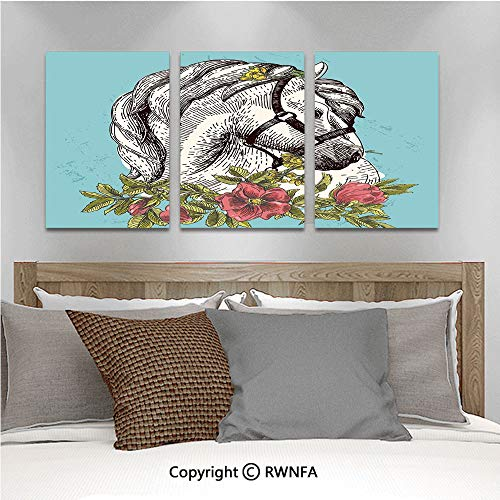 3Pc Creative Wall Stickers Boho Style Horse Opium Blossoms Poppy Wreath Equestrian Illustration Bedroom Kids Room Nursery Dinning Wall Decals Removable Art Murals,19.7