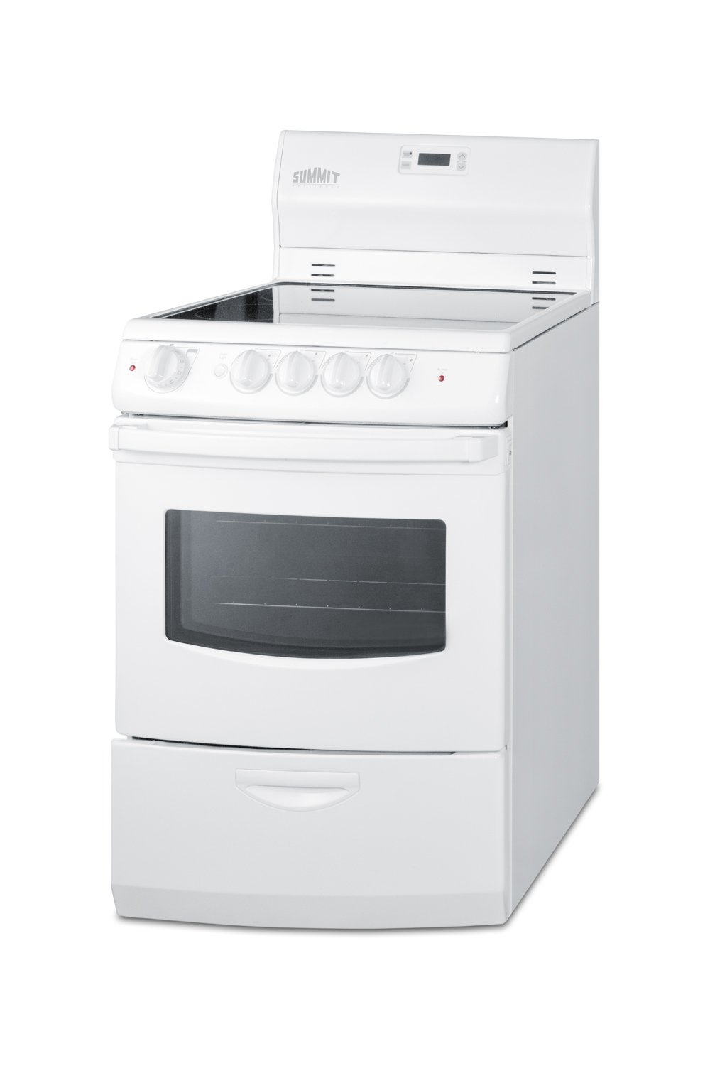 Summit FBA REX242W Pearl 24' 3 cu.ft. Electric Range with Glass Cooktop, Storage Drawer, Exterior, White Summit Appliances
