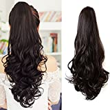 Ponytail Hair Pieces 24 Inch Curly Claw Clip Synthetic Pony Tail Hair Extensions Medium Brown 120 Grams Long Natural Clip in Ponytail Wigs, 4