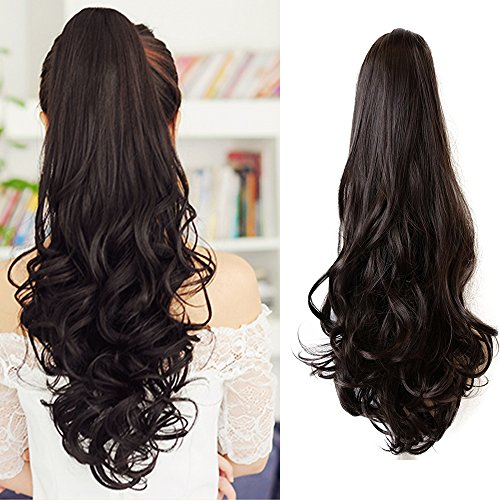 Ponytail Hair Pieces 24 Inch Curly Claw Clip Synthetic Pony Tail Hair Extensions Medium Brown 120 Grams Long Natural Clip in Ponytail Wigs, -