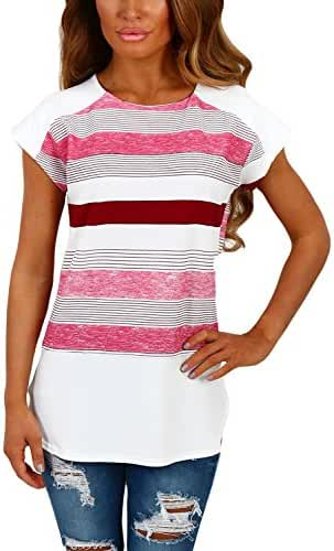 Annflat Women's Color Block Striped Short Sleeve T Shirt Casual Blosue Tops