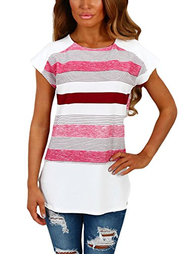 [Annflat Women's Multi Stripe Short Sleeve T Shirt Casual Blosue Tops X-Large White and Pink] (Pink Stripe Shirt)