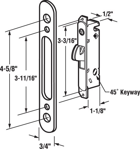Prime-Line Products E 2164 Mortise Lock, 4-5/8 in., Steel, 45 Degree Keyway, Round Faceplate, Spring-Loaded by Prime-Line (Image #1)