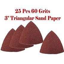 "Pack 25 Sandpaper 60 Grits 3"" Triangular SanD Paper w/ loop backing for Fein Multimaster Bosch Multi-x Craftsman Nextec Dremel Multi-max Ridgid Dremel Chicago Electric MM20 MM40 M12 RK5140K Milwaukee Hyperlock Rockwell"
