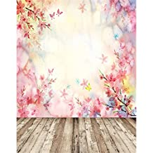 Spring Backdrops for Photography 5x7 Pink Floral Sunshine Bokeh Photo Backgrounds for Studio Wood Floor Newborn Baby Props