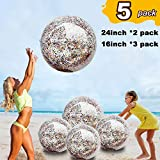 "6. 5 Pack Sequin Beach Ball Jumbo Pool Toys Balls Giant Confetti Glitter Inflatable Clear Beach Ball Swimming Pool Water Fun Toys Outdoor Summer Party Favors for Kids Adults (24""-2 Pieces,16""-3 Pieces)"