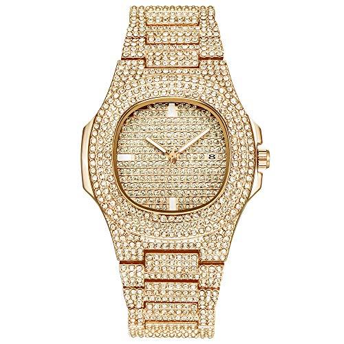 Bling-ed Out Oblong Case Quartz Mens Watch,Hip Hop Watch Simulated Lab Diamonds - Round Case Diamond Watch