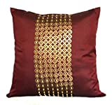 The White Petals Gold Decorative Pillow Cover with Gold Sequins and Wood Bead Embroidery in Panel Pattern (16x16 inch, Maroon/Marsala)
