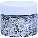 DAWILS Peel Off Chunky Glitter Gel Face Makeup Holographic Chunky Glitter Body Peel Off Formula Cosmetic Glitter Glue Silver