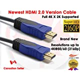 Premium 6 Feet Super Speed HDMI 2.0 Version Cable with Ethernet - Supports 3D, Audio Return, 2160P & 4K - Latest HDMI Standard Gold Plated Copper Conductor