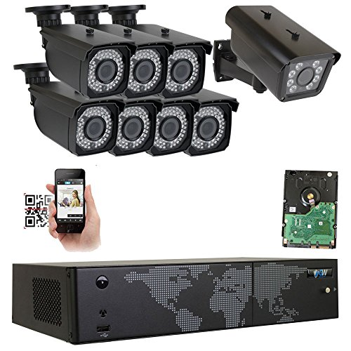 GW Security 8 Channel NVR H.265 License Plate PoE Security Camera System with 7 x 5MP 1920p 2.8-12mm Varifocal Bullet IP Camera and 1 x 3M 1536p IP License Plate Camera - License Plate Recognition