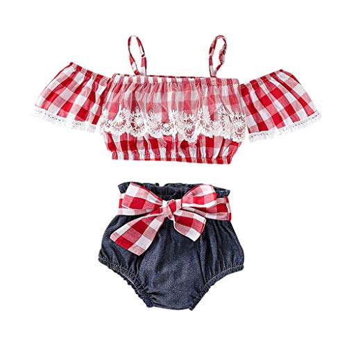 (Baby Girls Clothes Set HANANei Toddler Kids Off Shoulder Plaid Straps Lace Tops+Bow Shorts Pant Outfits (18-24 M, Red))
