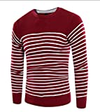 LOKOUO Fashion Men's Casual Striped Long Sleeve Pullover Sweater Wine RedLarge