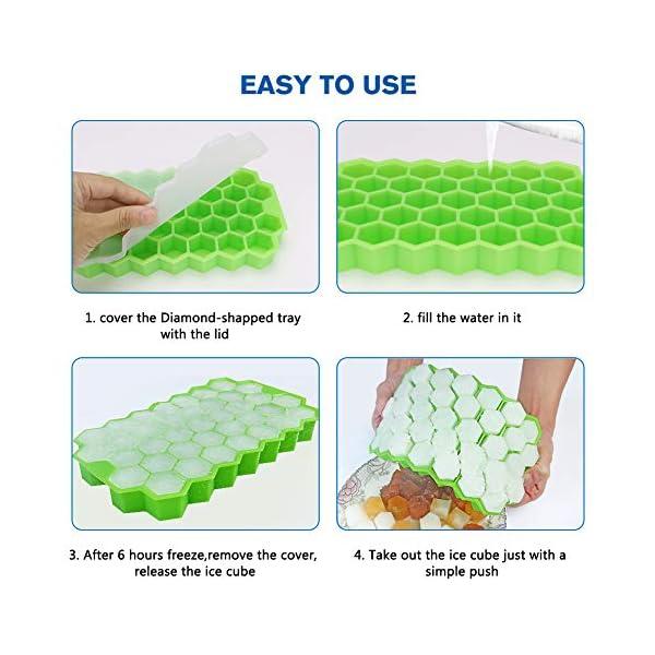 Vaschette per cubetti di ghiaccio con coperchio, 37 cubetti di ghiaccio con coperchio rimovibile, in gel flessibile e… 6 spesavip