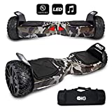 CHO[TM All Terrain Rugged 6.5 Inch Wheels Hoverboard Off-Road Smart Self Balancing Electric Scooter with Built-in Speaker LED Lights UL2272 Certified (Grey-Camouflage)