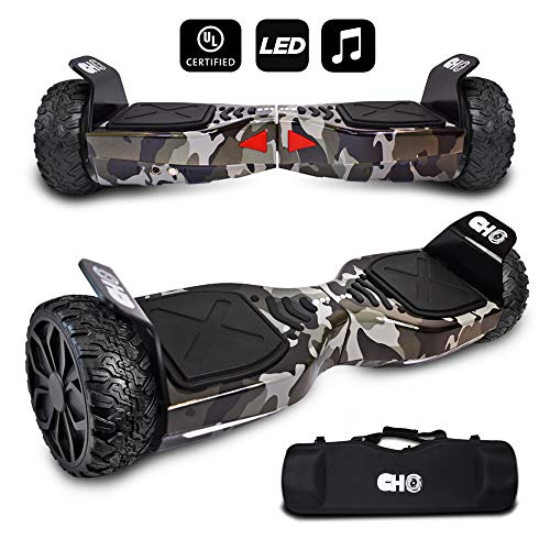 CHO TM All Terrain Rugged 6.5 Inch Wheels Hoverboard Off-Road Smart Self Balancing Electric Scooter With built-In Bluetooth Speaker LED Lights UL2272 Certified (Grey-Camouflage)