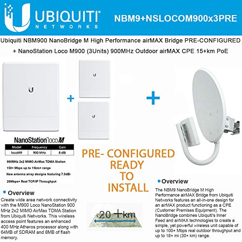 UBNT Systems NanoBridge M9 NBM900 900Mhz AirMax 11dBi MIMO Long Range (1 Unit) PRE-CONFIGURED + NanoStation Loco M900 (3 Units) 900MHz 2x2 MIMO AirMax BaseStation +20Mbps - Ready to Install 900 Mhz Base Station