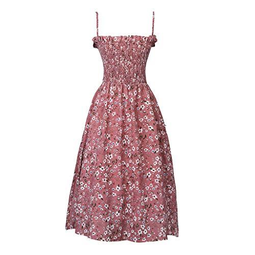 [해외]Jialii 여자의 여름 드레스 패션 여성 민소매 슬래시 넥 꽃 무늬 드 레이프 튜 닉 캐주얼 볼 가운 스트랩 드레스 (핑크 중간) / Jialii Woman`s Summer Dress Fashion Women Sleeveless Slash Neck Floral Print Draped Tunic Casual Ball Gown Stra...
