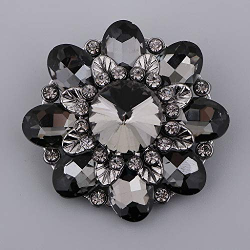 - Bling Alloy Rhinestone Button with Shank Crystal Decorative Button DIY Craft | Color - Black