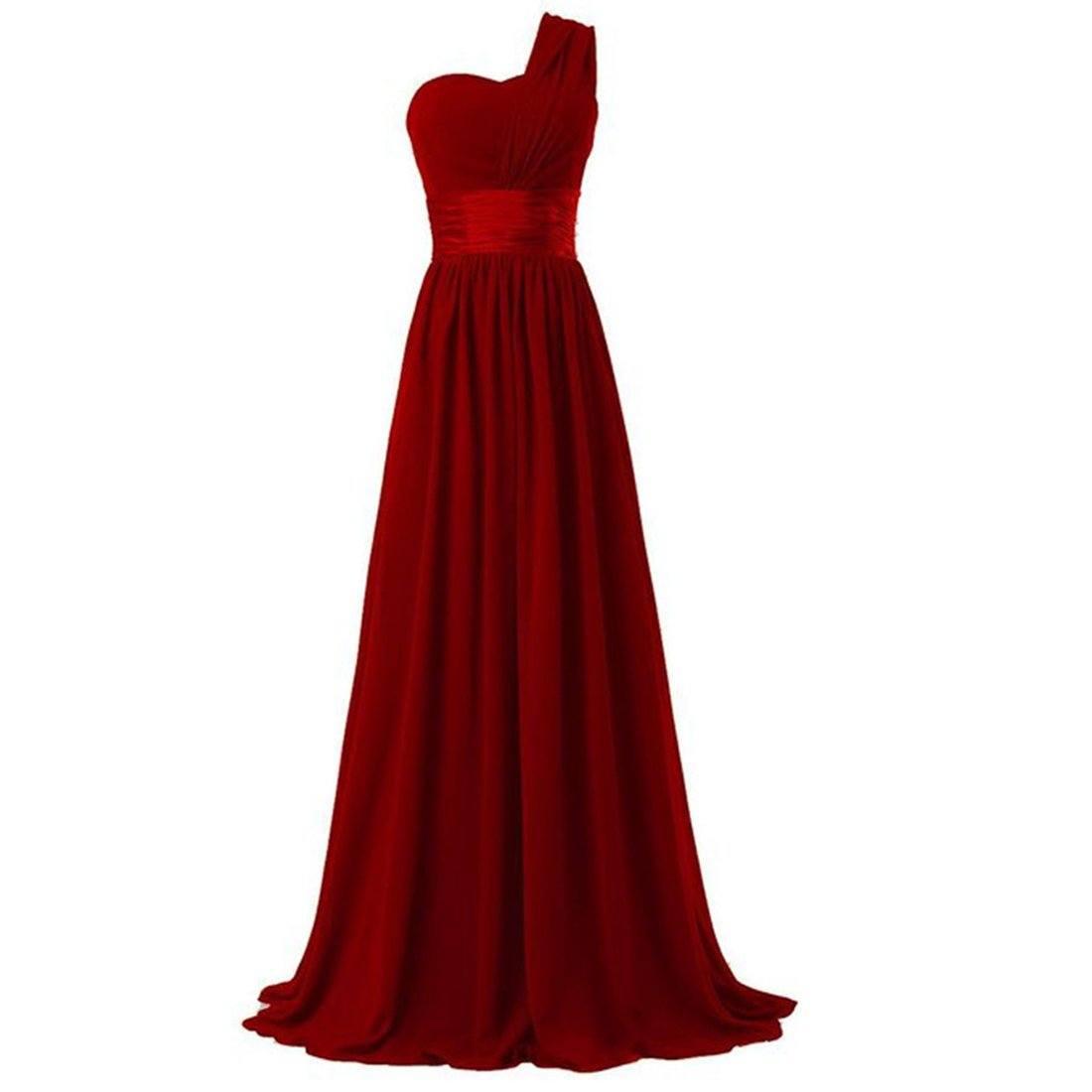 HAWEE Womens One Shoulder Chiffon Long Evening Dress Floor Length Trailing Bridesmaid Dress