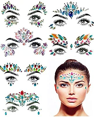 baaef733a0b Amazon.com : Face Gems, 6 sets Face Gem Mermaid Jewels Girl's Makeup ...