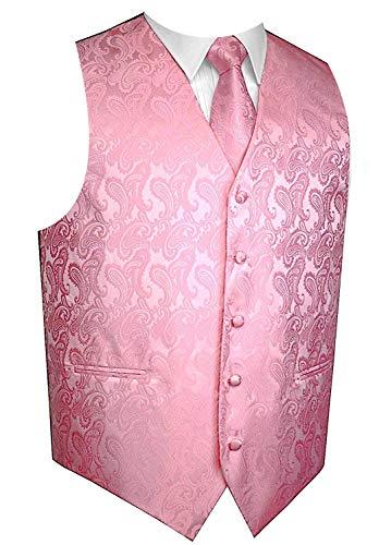 Hot Pink Vest Set - Men's 3pc Paisley Vest Set-Pink-XS