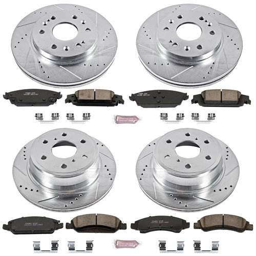Power Stop K6560 Front and Rear Z23 Evolution Brake Kit with Drilled/Slotted Rotors and Ceramic Brake Pads