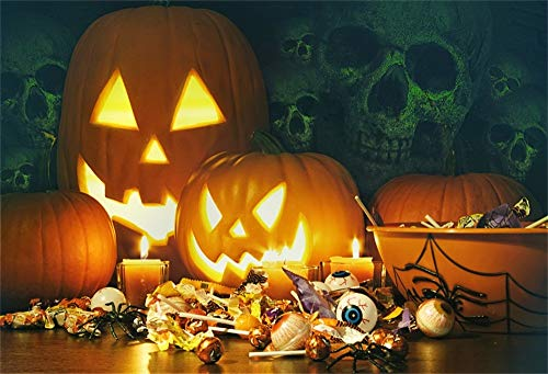 AOFOTO 9x6ft Candles Pumpkin Lantern Backdrop for Halloween Party Jack O Lantern Eyeball Spider Skull Photography Background Hallowmas Decorations Photo Studio Props Vinyl Wallpaper Video -