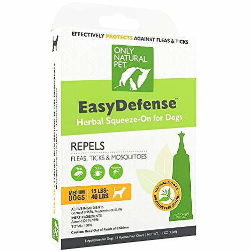 Only Natural Pet Flea and Tick Prevention for Medium Breed Dogs (15 to 40 lbs) - EasyDefense Flea Remedy - Natural Flea Treatment Control Herbal Squeeze-On Drops - Three Month Supply by Only Natural Pet